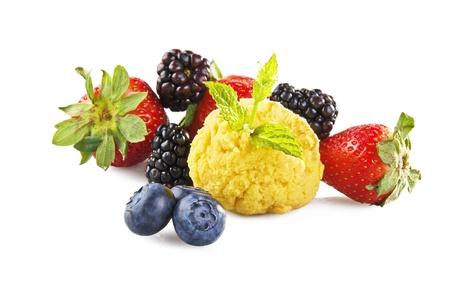 fruit ice cream close up on white background Stock Photo - 10929490