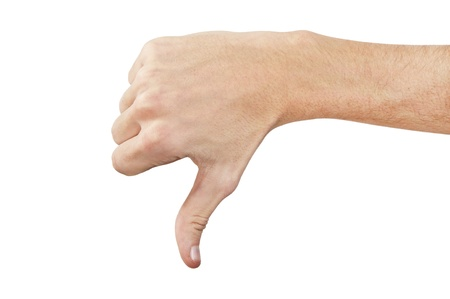 A hand indicating down close up on white background