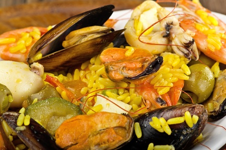 rice with seafood close up in a dish photo