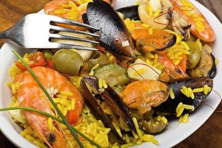 rice with seafood close up in a dish Stock Photo - 10929581