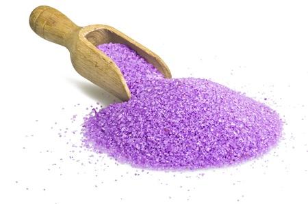 Bath Salts violet close up on white