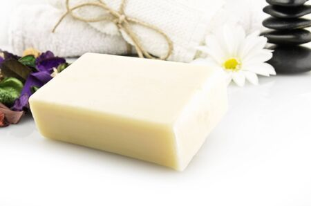 natural soap with colored flowers photo