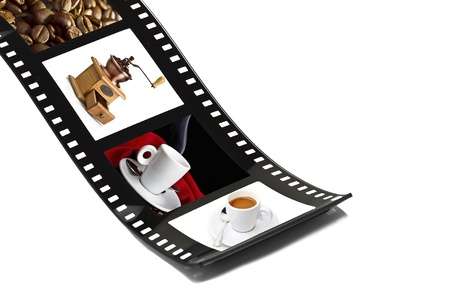 Film strip with preparing coffee photo