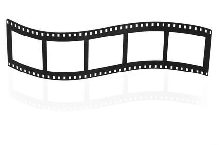 movie film reel: Tira de pel�cula en blanco sobre fondo blanco Foto de archivo