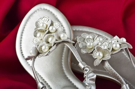 flip-flops with flowers on a white background  photo