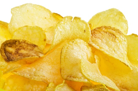 titbits: potato chips on the white background
