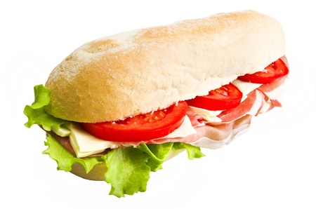sandwich with lettuce, tomatoes, ham and cheese