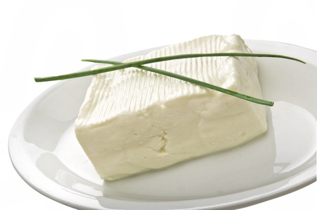 Soft cheese block in a plate photo