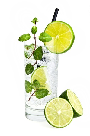 Mojito cocktail  on  a white Stock Photo