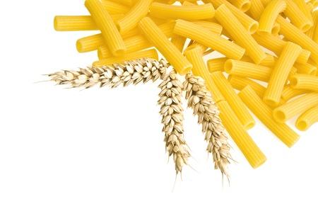 Italian Pasta - Maccheroni close up on white photo