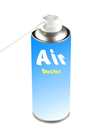 pressurized: Air duster on the white background Stock Photo