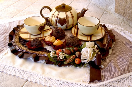 English  tea setting with pastry photo