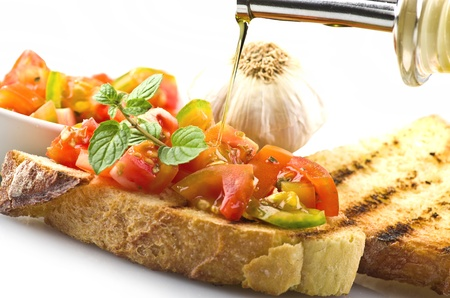 bruschetta: fresh bruschetta with tomato ,olive oil ,garlic and oregano