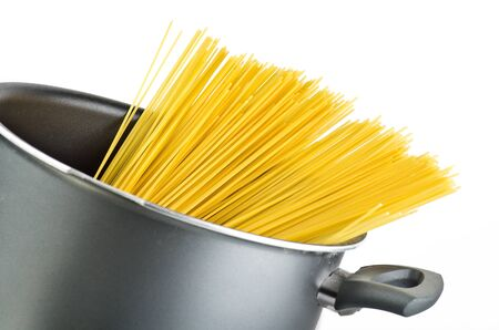 group of spaghetti inside a pot  on the white background  Stock Photo - 11599215