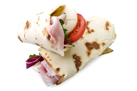 tortilla wraps with ham,cheese,and vegetables  Stock Photo