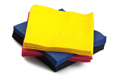colorful stack of napkins  on white background