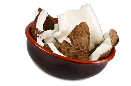 Coconut in a bowl close up photo