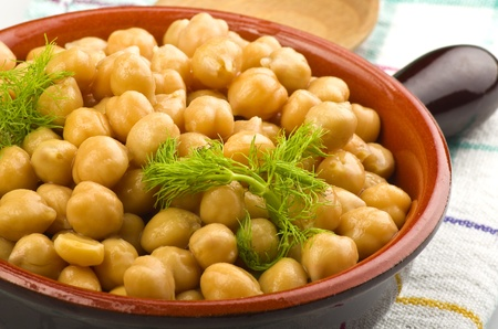 Bowl of chickpeas with fennel leaves,closeup shoot Stock Photo - 13453476