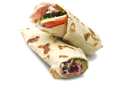 tortilla wraps with ham,cheese,and vegetables  photo
