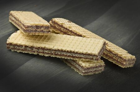 chocolate wafer in different position on the table Stock Photo