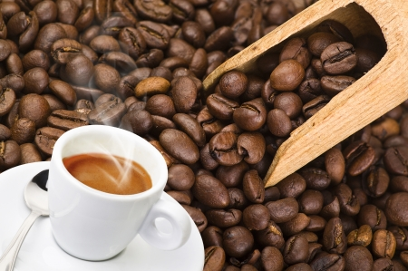 Cup of coffee smoked over seed background Stock Photo - 13749688
