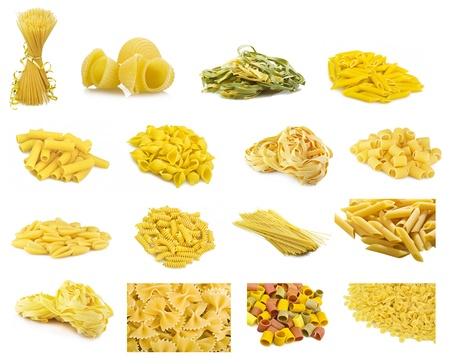 Collage of various type of italian pasta