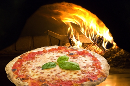 pizza: Pizza Margherita in a pizza oven