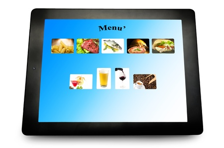 Tablet pc with menu for restaurant on white photo