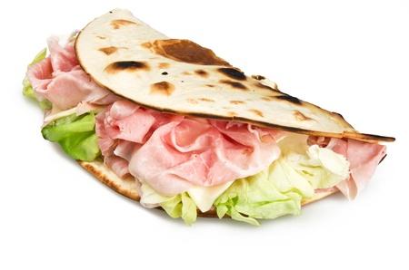 Piadina romagnola with ham salad and cheese  Stock Photo