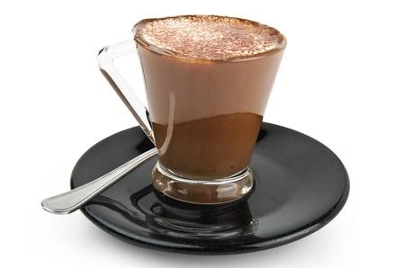chocolate caliente: Caf� crema de leche y el chocolate en el plato negro Foto de archivo