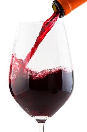 wine list: Glass with red wine and bottle on white