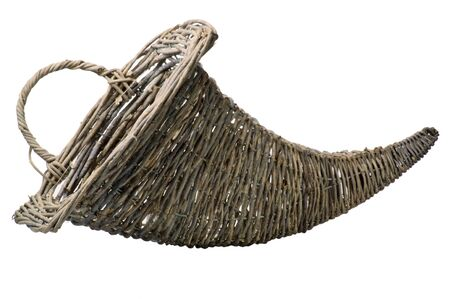 A wicker cornucopia on a white background photo