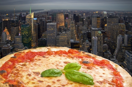 N Y  Pizza margherita fly to the town