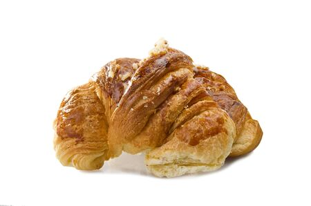 buttery: Fresh and tasty croissant on the white Stock Photo