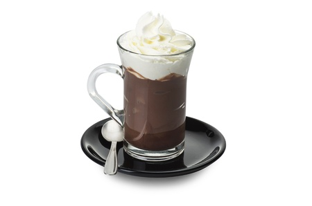 Hot chocolate close up on the white  Imagens