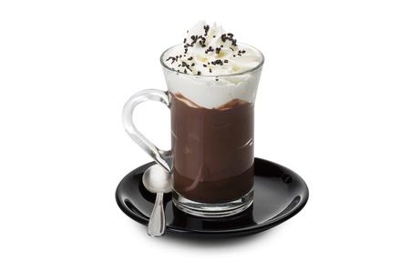 cacao: Chocolate caliente de cerca en el blanco Foto de archivo