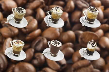 Collage of hot coffee with milk cream and chocolate pieces  photo
