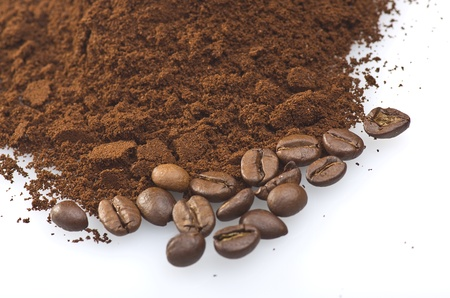 coffee powder close up on the white background Stock Photo - 18266774