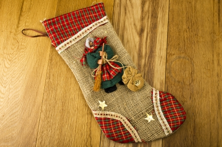 Epiphany sock decorated with old woman Stockfoto