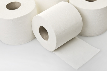 soft tissue: Rolls of toilet paper close up on white Stock Photo