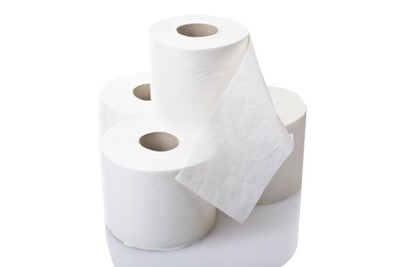 septic: Rolls of toilet paper close up on white Stock Photo