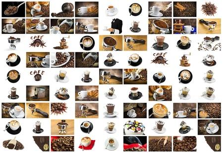 Coffee and Cappuccino Collage  for italian breackfast photo