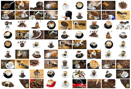 breackfast: Coffee and Cappuccino Collage  for italian breackfast