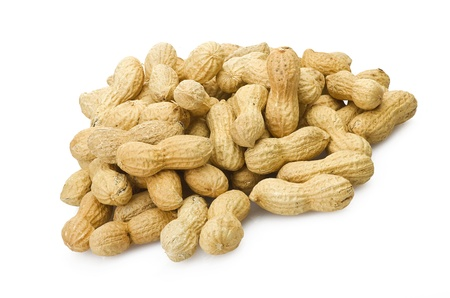 monkey nut: Peanuts close up on the white background