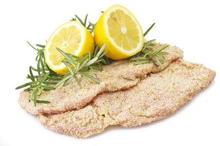 breading: schnitzel of veal close up on the white Stock Photo