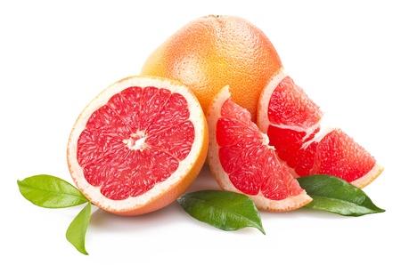 白にピンク グレープ フルーツのクローズ アップ