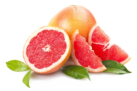 grapefruit: Pink grapefruit close up on the white  Stock Photo