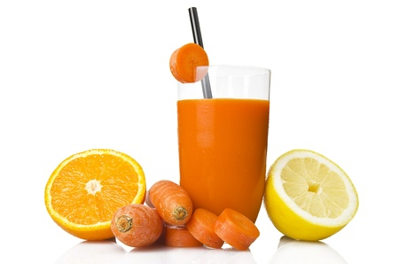 carrot juice: ace juice, orange, carrot and lemon on white