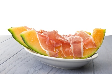 diuretic: Ham and cantaloupe melon on the gray table