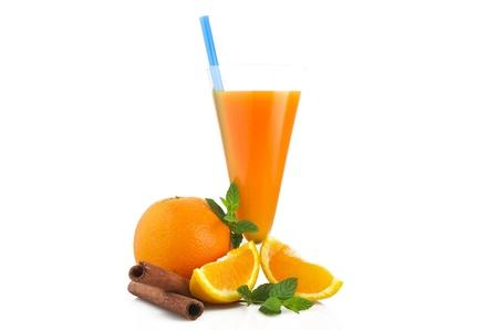 Orange fruit cocktails  close up on the white  photo